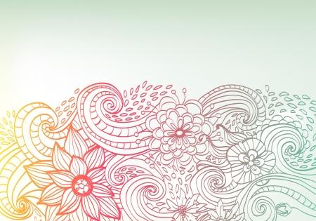 doodles: Doodle color floral background, illustration for your design