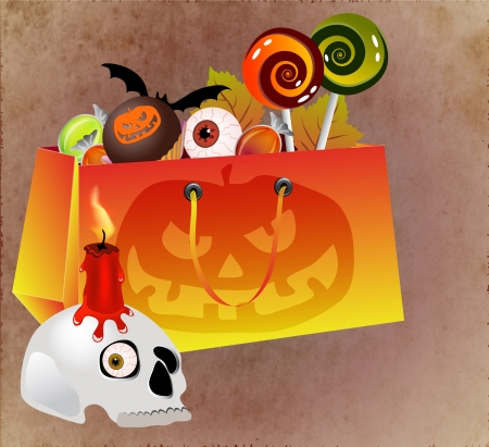Halloween shopping bag with scary face, sweets and skull photo