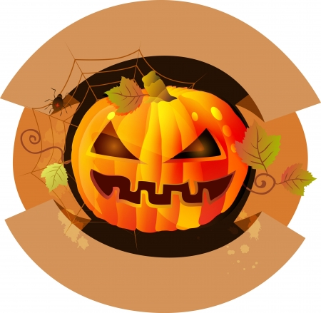 Halloween background label with pumpkin photo
