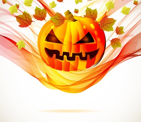 jack o lantern: Abstract Halloween autumn background with wave and pumpkin, illustration for your design