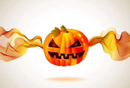 Abstract Halloween autumn background with wave and pumpkin, illustration for your design Vector