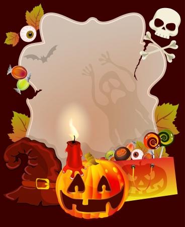treats: Tarjeta de Halloween con lugar para el texto calabaza, dulces, fantasmas, ilustración