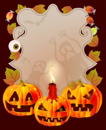 Halloween card with place for text  pumpkin, candies, ghosts, illustration Vector