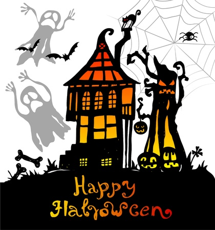 Halloween background with scary house, illustration Vector