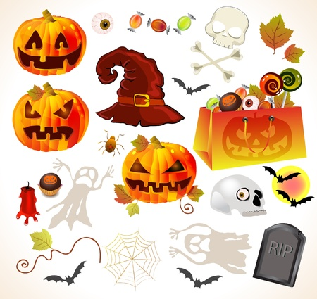 Set of halloween design elements, illustration Vector