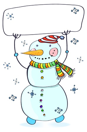 Funny snowman  Christmas card for your design with place for text, illustration Vector