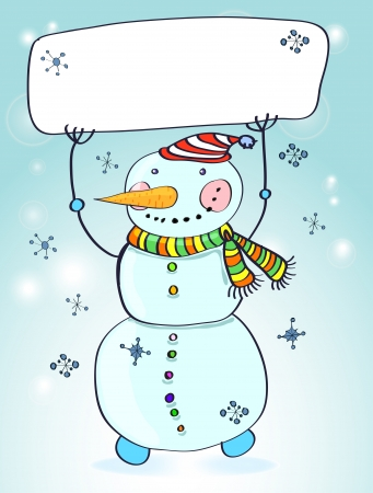 Funny snowman  Christmas card for your design with place for text, illustration Stock Vector - 15122571