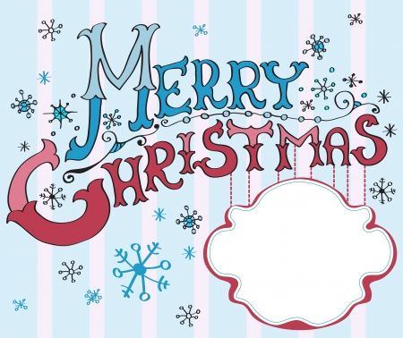 Tarjeta de Navidad, Merry Christmas letras, ilustración para su diseño Foto de archivo - 15499579