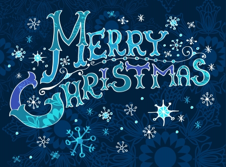 old style lettering: Christmas Card, Merry Christmas lettering, illustration for your design Illustration