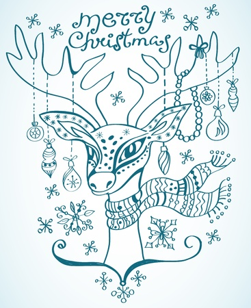 illustration of a christmas deer with scarf and decoration, beautiful background Stock Vector - 15499572