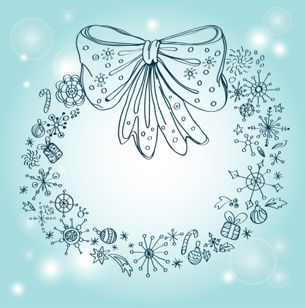Vintage Christmas wreath, beautiful illustration Vector