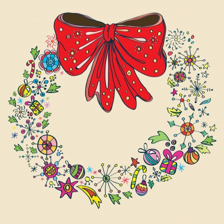 Vintage Christmas wreath, color illustration Vector