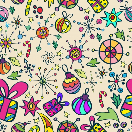 Christmas pattern with color elements, seamless background Vector