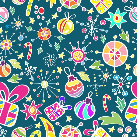 Christmas pattern with color elements, seamless background Stock Vector - 15499573