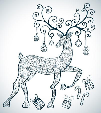 Christmas deer with decorations, beautiful  illustration