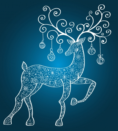 Christmas deer with decorations, beautiful  illustration Vector