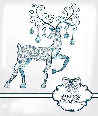 Christmas deer with decorations and place for text, beautiful  illustration Stock Vector - 15501389