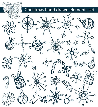 doodle art: Christmas hand drawn elements collection for your design