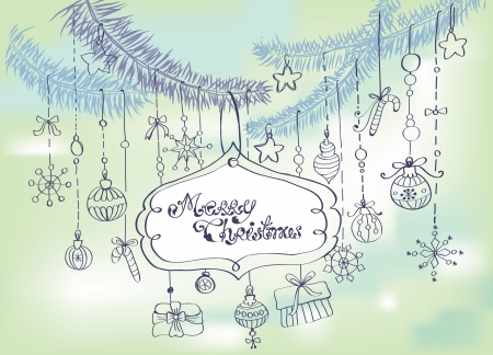 Christmas background with cute decorations and place for text Stock Vector - 15306268