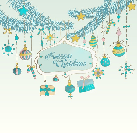 Christmas background with cute decorations and place for text, illustration Stock Vector - 15306270