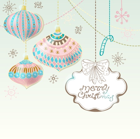 Christmas background with cute decorations and place for text, illustration Stock Vector - 15306274