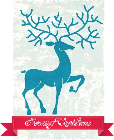 Christmas deer with red ribbon, beautiful vintage  illustration Stock Vector - 15306301