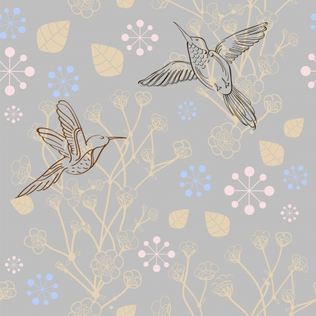 Seamless natural pattern with bird and flower, background Stock Vector - 15306294