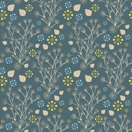 Seamless natural pattern with flowers, background Vector