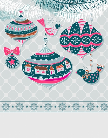 Christmas background with cute decorations and birds Vector