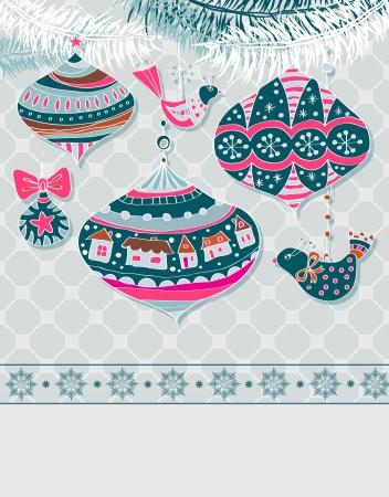 animalitos tiernos: De fondo de Navidad con las decoraciones lindas y pájaros Vectores
