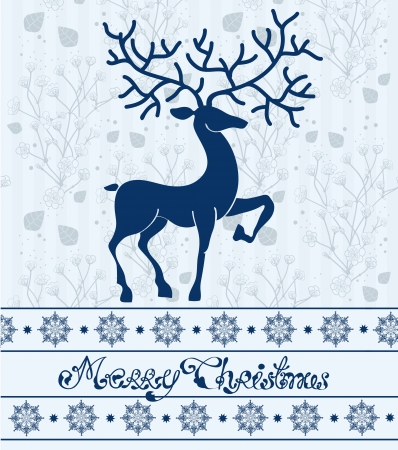 Christmas deer card with text  Merry Christmas, beautiful illustration