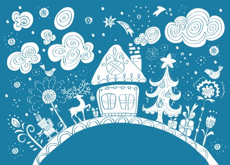 toy house: Christmas hand drawn background with place for text, cute illustration Illustration