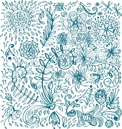 Doodle floral background for your design, illustration Vector