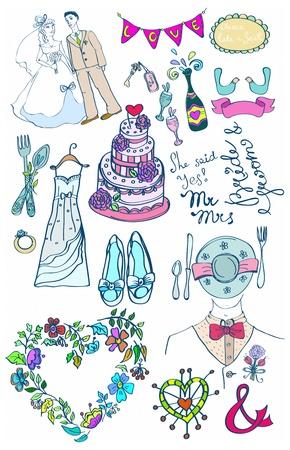 fita: Conjunto de casamento de doodles glamourosas bonito para seu projeto Ilustra��o