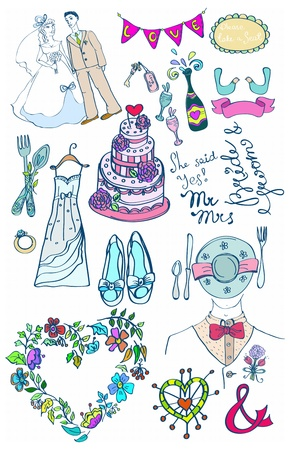 shopping champagne: Wedding set of cute glamorous doodles for your design