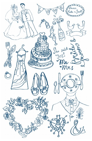 Wedding set of cute glamorous doodles for your design Vector