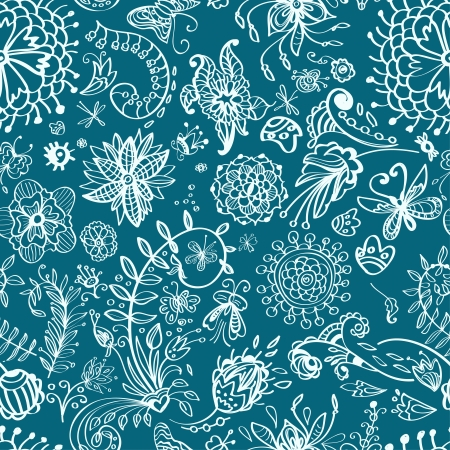 modern garden: Floral seamless pattern with doodle flowers, illustration