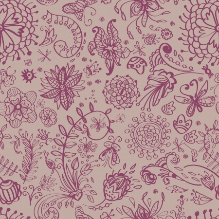 Floral seamless pattern with doodle flowers, illustration Vector