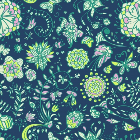Floral seamless color pattern with doodle flowers, illustration Vector