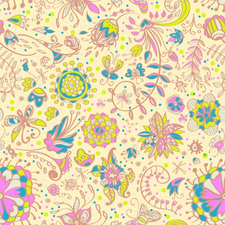 Floral tender seamless color pattern with doodle flowers, illustration Vector