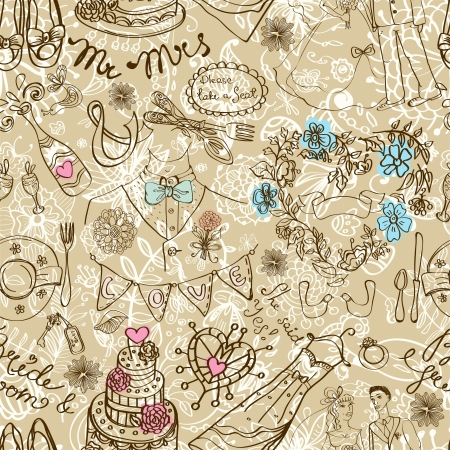 vintage wallpaper: Wedding seamless pattern with doodles, illustration Illustration