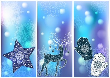 Three Christmas cards for your holiday design Vector