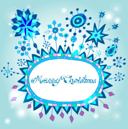 Christmas hand drawn background with place for text, cute illustration with snowflakes Vector