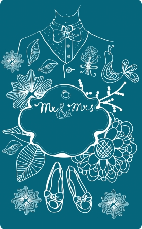 mr and mrs: Wedding card with glamorous doodles, illustration for your design