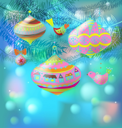 christmas fur tree: Christmas background with cute decorations and birds, illustration