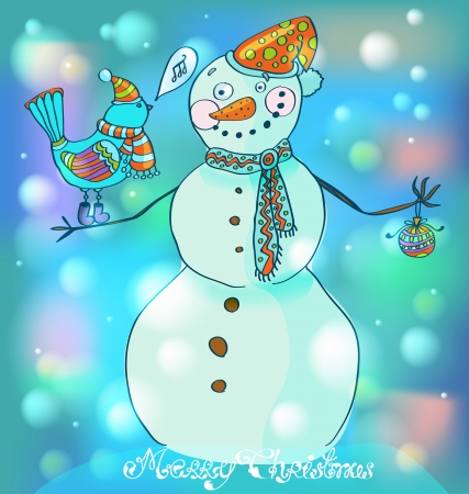 snowman cartoon: Snowman with bird, cute background for Christmas or New Year design