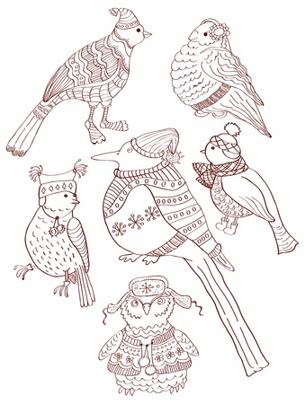 40 s: A collection of cute hand-drawn bird doodles, illustration