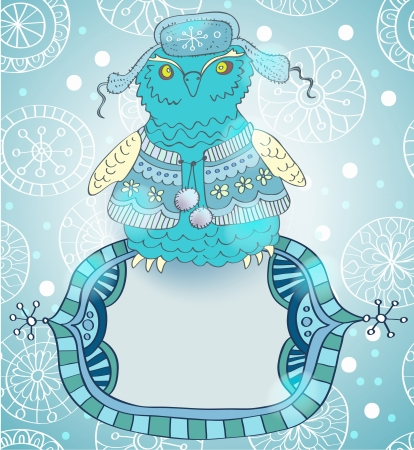 snowy owl: Winter cartoon background with cute owl and label, illustration
