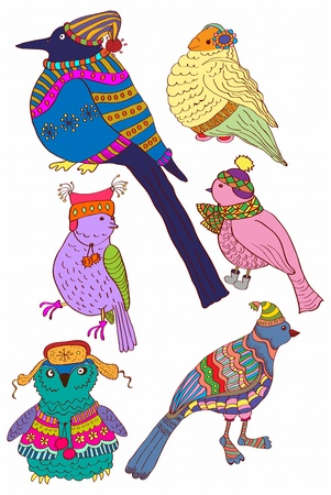 40 s: A collection of cute hand-drawn color bird doodles, illustration
