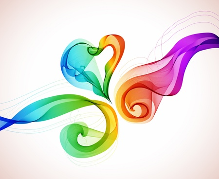 Abstract colorful background with wave and heart, illustration for Valentine design